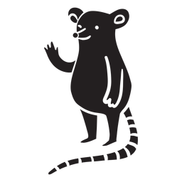 Cute mouse waving standing silhouette