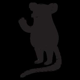 Rato fofo acenando uma silhueta em pé