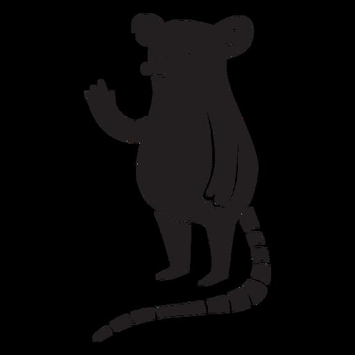 Lindo ratón agitando silueta de pie Transparent PNG