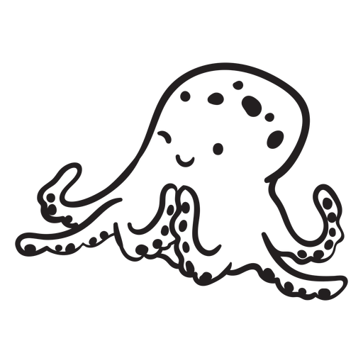 Cute octopus scheming outline Transparent PNG