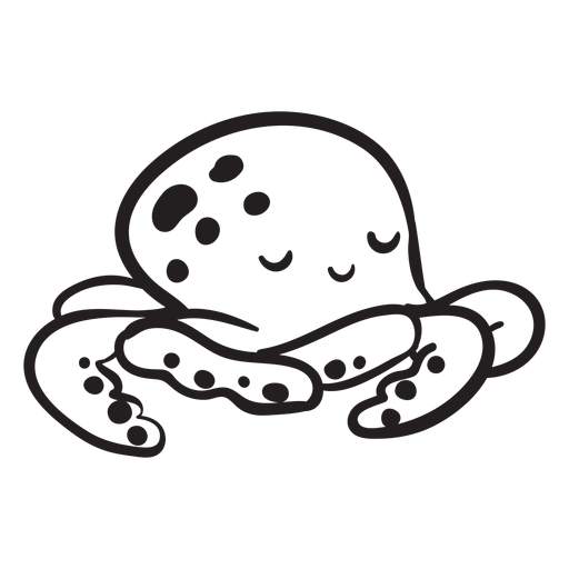 Cute octopus sleeping outline Transparent PNG