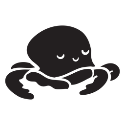 Cute octopus sleeping silhouette