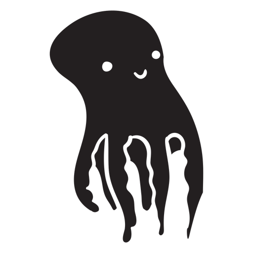 Cute octopus swimming up silhouette Transparent PNG