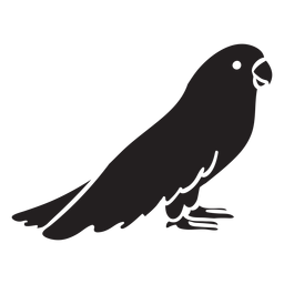 Cute parrot standing profile silhouette