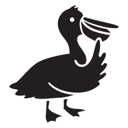 Cute pelican standing thinking silhouette