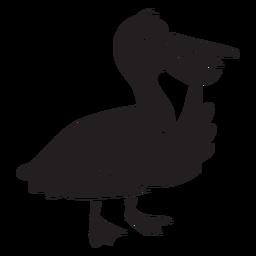 Silhueta de pensamento bonito pé pelicano