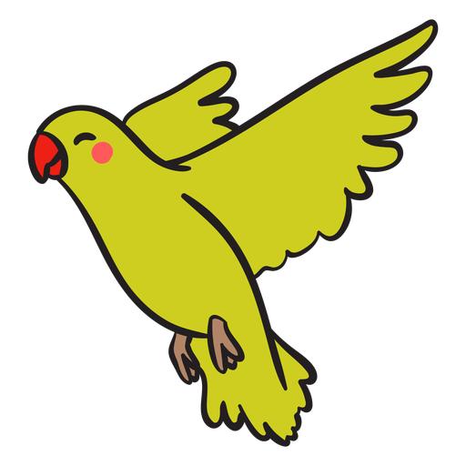 Cute smiling green parrot flying