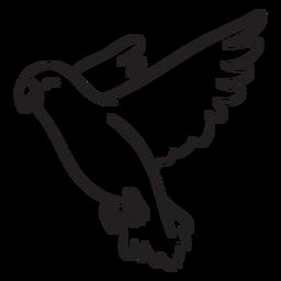 Bonito papagaio sorridente voando contorno