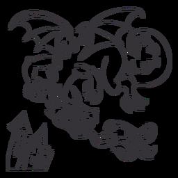 Malvado dragón volando fuego esquema