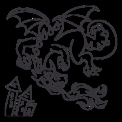 Malvado dragón volando fuego esquema Transparent PNG