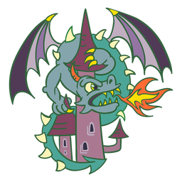 Evil green dragon attacking castle