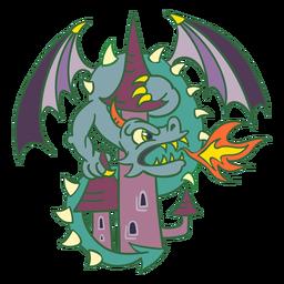 Malvado dragón verde atacando el castillo