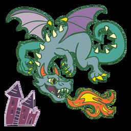 Dragão verde mal voando fogo