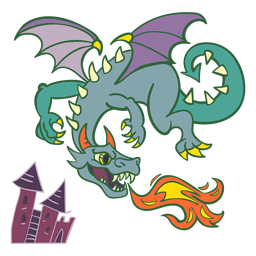 Evil green dragon flying fire