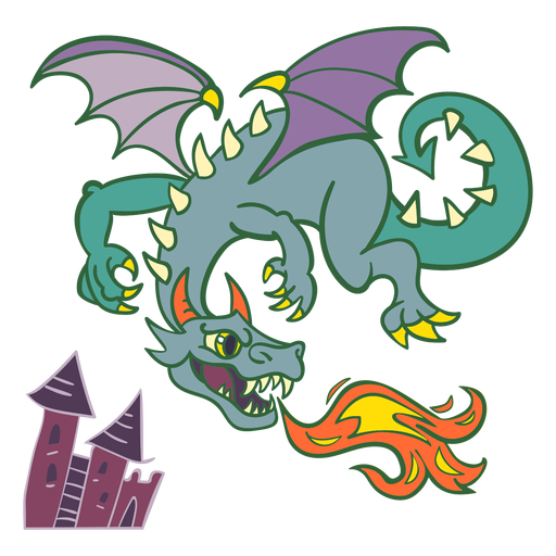 Evil green dragon flying fire Transparent PNG