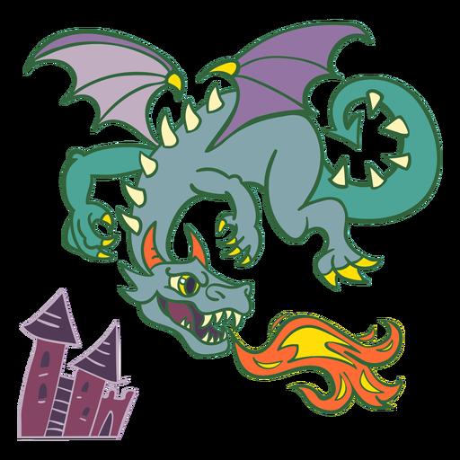 Malvado dragón verde volando fuego Transparent PNG