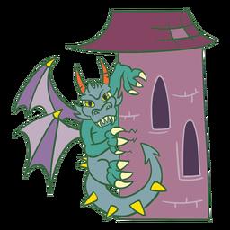 Evil green dragon perching tower