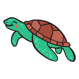 Grüne lächelnde Meeresschildkrötenschwimmen