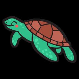 Tartaruga marinha sorridente verde nadando