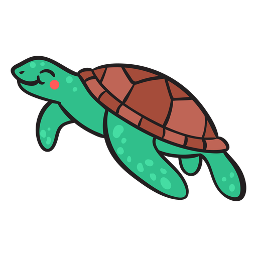 Green smiling sea turtle swimming Transparent PNG