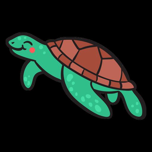 Green smiling sea turtle swimming