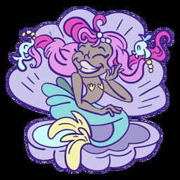 Sirena de pelo rosa feliz sentado concha de mar