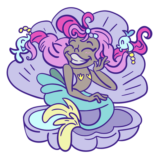 Happy pink hair mermaid sitting sea shell Transparent PNG