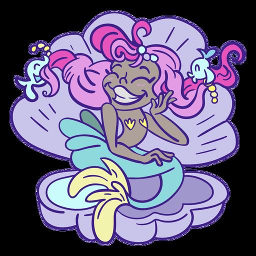 Sirena de cabello rosado feliz sentado concha de mar Transparent PNG
