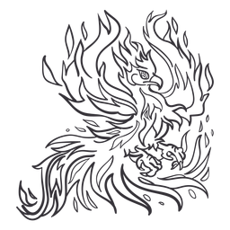 Phoenix extendiendo el contorno de las alas