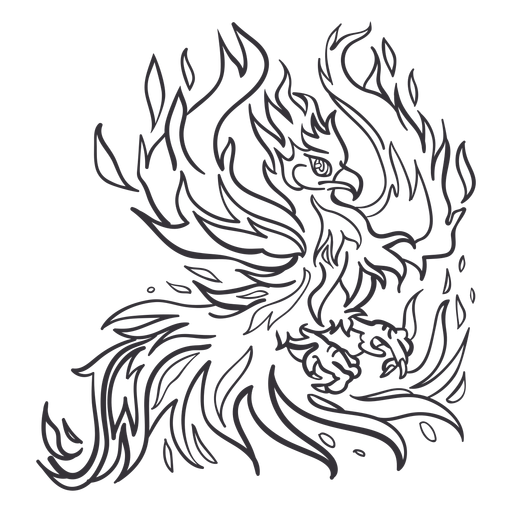 Phoenix spreading wings outline Transparent PNG