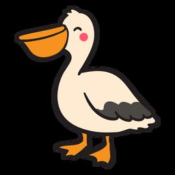 Smiling pelican standing