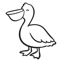 Smiling pelican standing outline