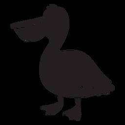 Silhueta de pé pelicano sorridente