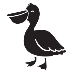 Silhueta de pelicano sorridente em pé