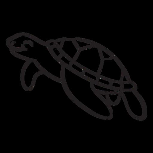 Smiling sea turtle outline Transparent PNG