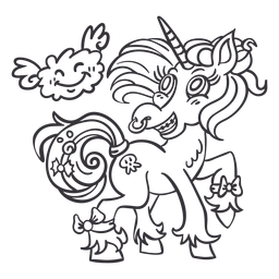 Stehender Umriss des Einhorn-Nasenrings