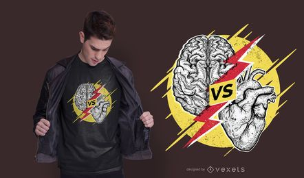Diseño de camiseta Heart Vs Brain