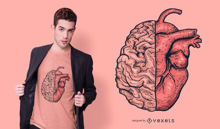 Design de t-shirt de cérebro de coração