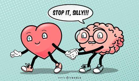 Corazón Cerebro Ilustración divertida de San Valentín