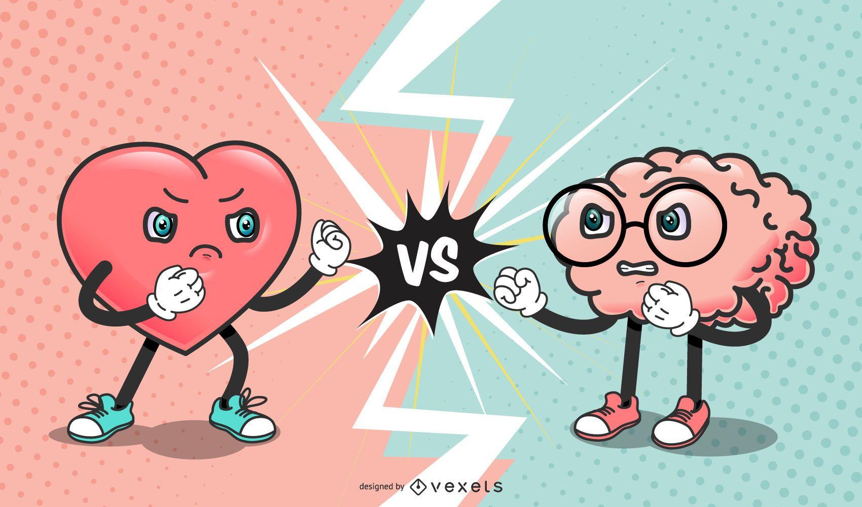 Personagens engraçados do Valentim do coração contra o cérebro