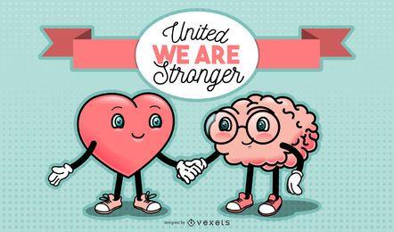 Ilustração de desenho animado de coração e cérebro