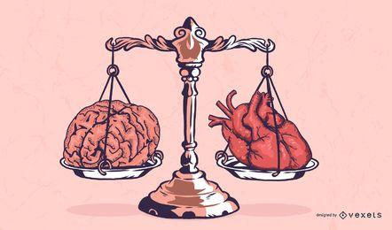 Ilustração de escala de coração e cérebro