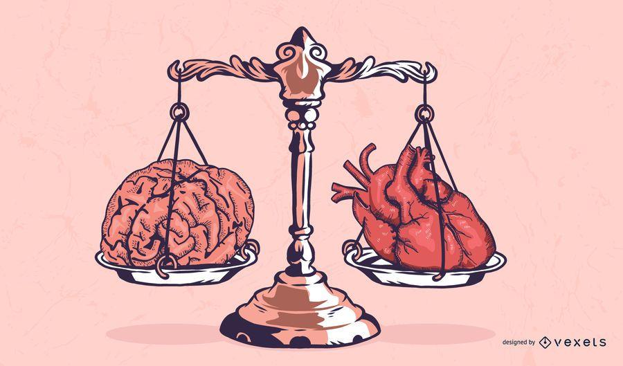 Ilustración de escala de corazón y cerebro