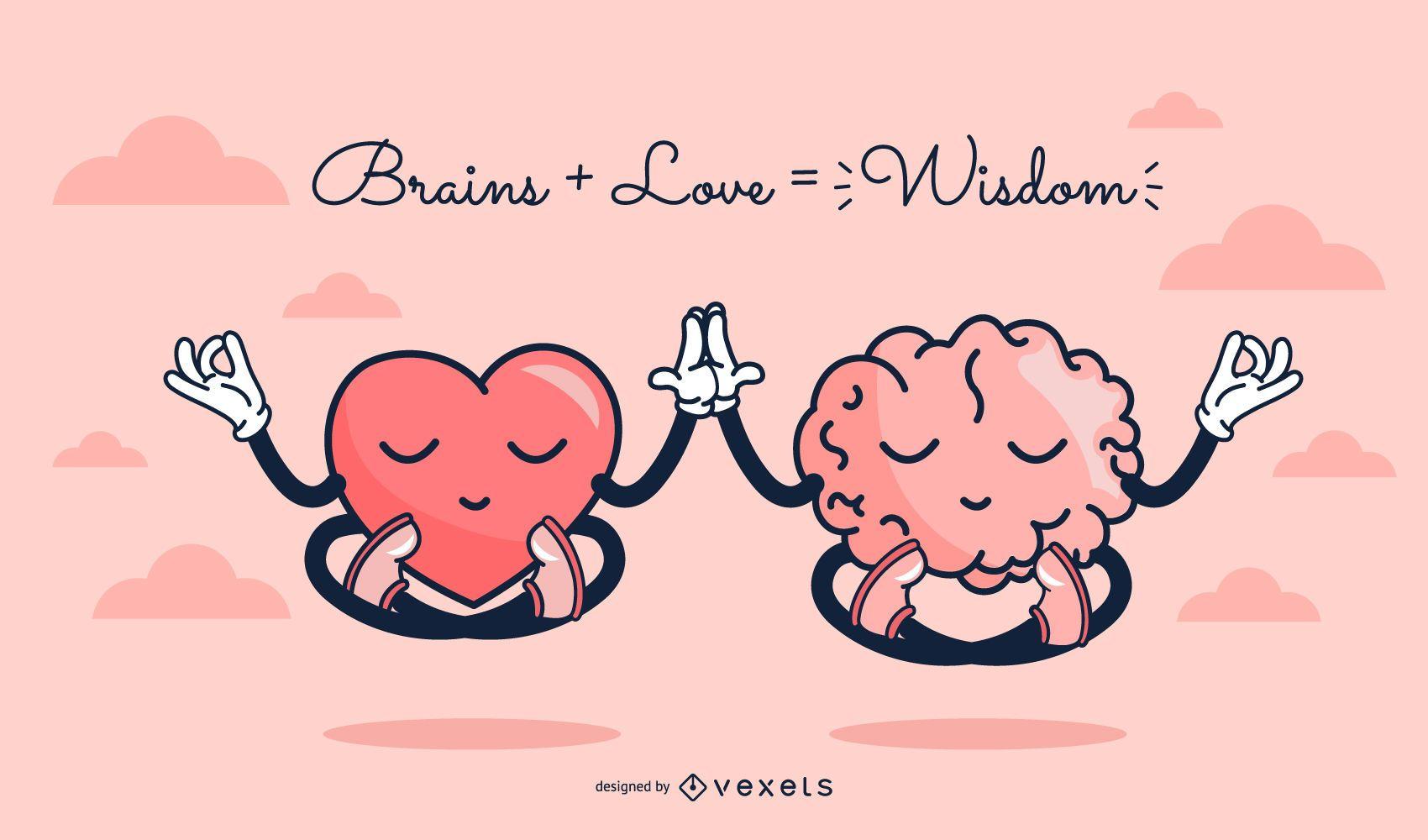 Ilustração de desenho bonito de coração e cérebro