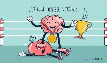 Gehirn-Herz-lustiger Valentinstag-Cartoon