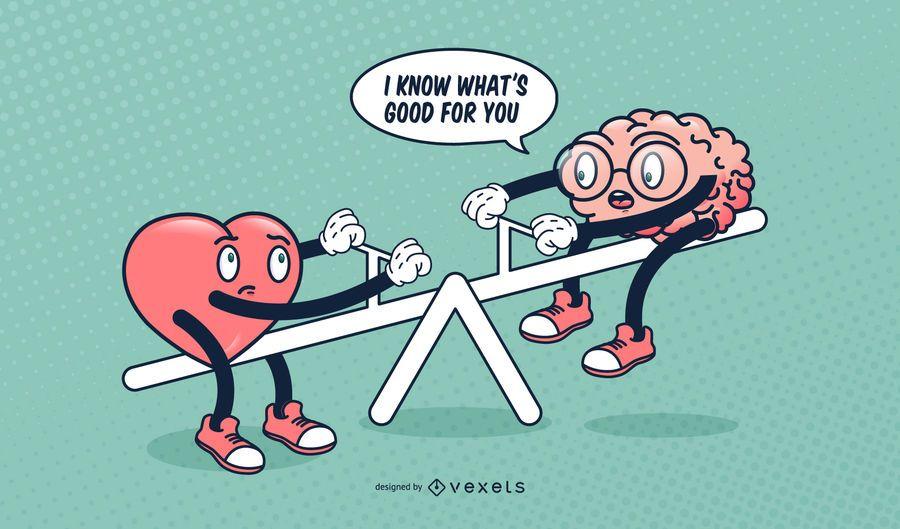 Ilustración de dibujos animados divertidos de cerebro de corazón