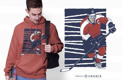 Design de t-shirt de jogador de hóquei no gelo
