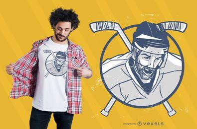 Design de t-shirt de homem de hóquei no gelo