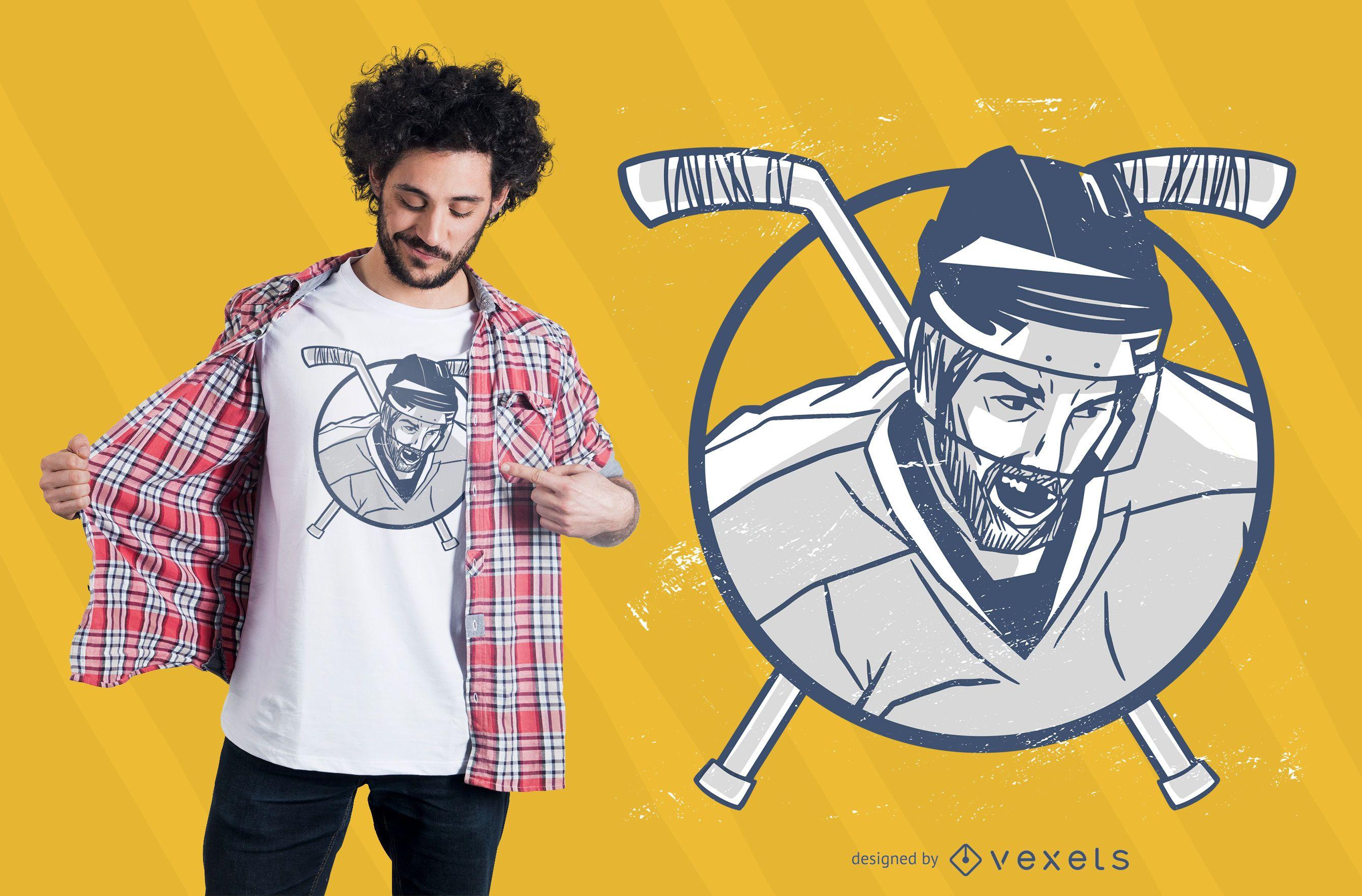Diseño de camiseta de hombre de hockey sobre hielo