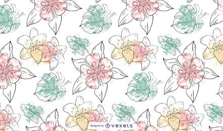 Diseño de patrón de flores acuarela